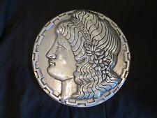 1966 Scovill Metal wall art Raised molded Roman Maiden Goddess figure head plate