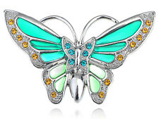 Green Butterfly Brooch Pin Womens Silvery Tone Turquoise Rhinestones