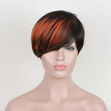Women's Black Ombre Wig Short Elf pixie cut Cropped textured Fire hair dyed wigs