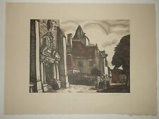 Gravure 2 tons L. Soulas - Bois gravé original signé - 1922