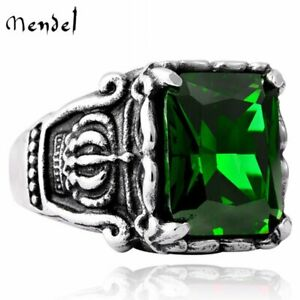 MENDEL Stainless Steel Mens Crown Faux Green Emerald Stone Ring Men Size 7-15