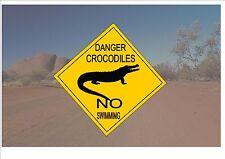 Segnale STRADALE stile australiano Australia Cartello Stradale Novità Divertente Coccodrillo OUTBACK