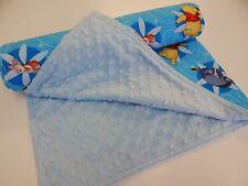 Bassinet Crib Pram Baby Blanket - Winnie the Pooh - Blue  90cm x77cm Minkee Back
