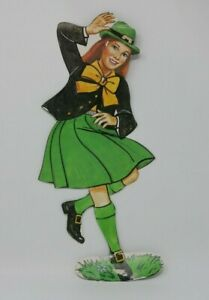 Vintage St. Patricks Day Spring Woman Leprechaun Decoration Die-Cut HTF