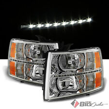 For 07-13 Silverado All, 2014 2500HD/3500HD Headlights Assembly w/LED Strip L+R