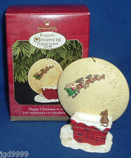 Hallmark Club Ornament Happy Christmas to All 1997 Santa Sleigh Lighting Effect