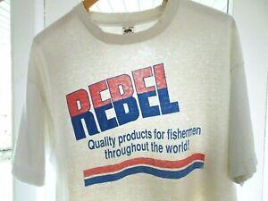 XXL Vtg 90s Rebel Fishing Brand Distressed Trashed Single Stitch Grunge T-Shirt