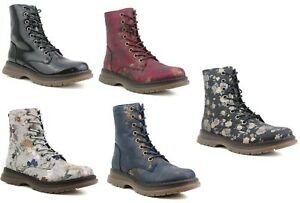 Womens Lace Up Zip up Memory Foam Metalic Floral Ladies Tall Ankle Combat Boots