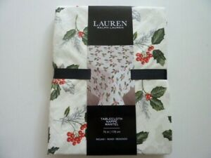 """Ralph Lauren TABLECLOTH CHRISTMAS HOLLY ROUND Tablecloth 70"""""""