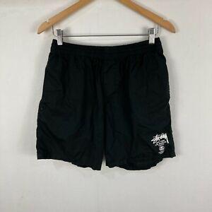 Stussy Mens Shorts Size 34 Black Elastic Waist Drawstring Slim Fit