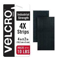 "New listing 4 Pcs Velcro Brand Industrial Strength Tape 4"" x 2"" Strips Heavy Duty Black New"