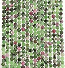 """3MM GREEN RED RUBY ZOISITE  GEMSTONE MICRO FACETED ROUND LOOSE BEADS 15"""""""