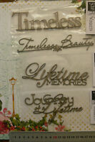 CHIPBOARD Wordlets TIMELESS, MEMORIES etc - 4 Mixed Designs Choice Scrap FX W2
