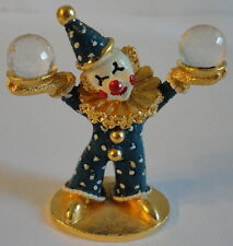Spoontiques c.1985 Painted Pewter Clown C/M447 Blue Polka Dot Swarovski Crystal
