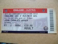 Billete-UEFA U-21 partido del campeonato que cumplen los requisitos Inglaterra v Austria, 7 de octubre de 2005