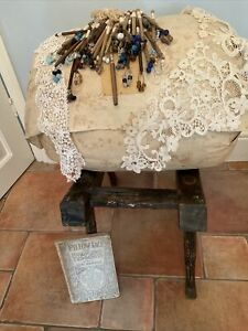 Vintage Large Round Lace Making Pillow With Bobbins, Book And Lace
