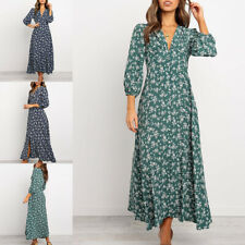 Women Boho Floral Long Dress Ladies Holiday Summer Beach Maxi Dress 3/4 Sleeves