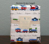 NEW RARE Pottery Barn Kids RYDER TRAIN 4-Pc Organic Cotton Queen Sheet Set