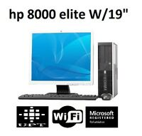 "HP Elite 19"" LCD Windows 10 Intel Core 2 Duo 3GHz 160GB WiFi 8GB Desktop"