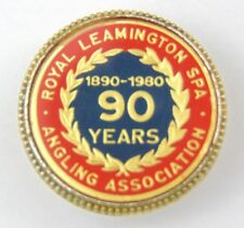 Vintage Enamel Royal Leamington Spa Angling Association Pin Badge - 90 Years