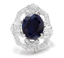 9.70Ct Natural Blue Sapphire & Diamond 14K White Solid Gold Ring