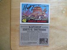 "1988 DINOSAURS ""MARS' ATTACK CARD #27 SOVIETS VS DIMETRODONS SIGNED HERB TRIMPE"