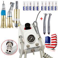 Dental Portable Air Turbine +2 High Speed Turbine+ Slow Handpiece Kit +10*Drills