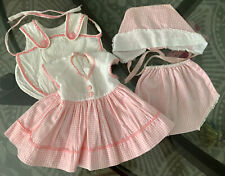 """Vintage Tiny Tears - Pink Check Signature Dress Hat Panty & Romper for 15"""" Doll"""