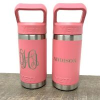 "YETI Rambler Jr 12 oz Custom ""Addison"" Kids Bottle, Pink - Set Of 2 New"
