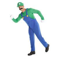 Mens Super Mario Bros LUIGI Fancy Dress Costume Adult Nintendo Green Plumber