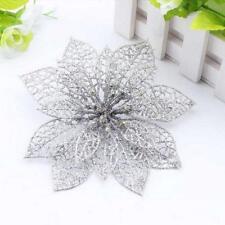 weihnachten blumen, xmas - baum dekoration glitter hochzeitsfeier zier silber PW