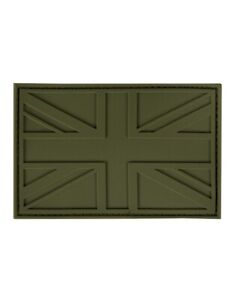 Union Jack Olive Green Airsoft PVC Patch with hook and look back