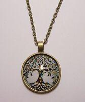 Tree of Life Design Cabochon Pendant Necklace w/ Chain Unique Jewelry Gift