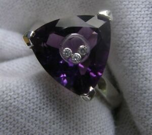 Genuine Amethyst 12mm Trillion S Silver Floating Diamonds Ring Size 6 to 8