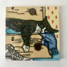 Glazed Ceramic 8 X 8 Tile Cat Decor Hanging Kitty Picture Art Collector Gift