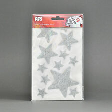 "IRON-ON Glitter Stars Hot-Fix FABRIC T-SHIRT TRANSFER Stickers Set 1"" 2"" 3"""