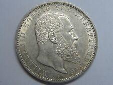 1913 GERMANY 5 MARK VON WUERTTEMBERG WILHELM II SILVER COIN EMPIRE