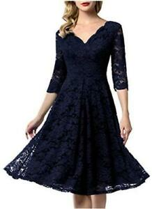 AONOUR Women's Vintage Floral Lace Bridesmaid Dress, Royalblue2, Size X-Large