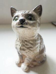 Royal Doulton Vintage Porcelain Cute Grey Cat with Green Eyes