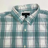 Banana Republic Button Up Shirt Men's 2XL XXL Short Sleeve Green White Plaid