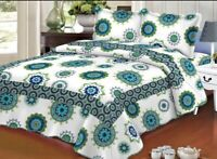 Cotton Quilted Bedspread, Reversible Bedspread With 2 Matching Pillow Shams