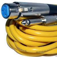 6m XLR Female Plug to Mono 6.35mm 1/4 inch Screened OFC Audio Cable YELLOW [0060