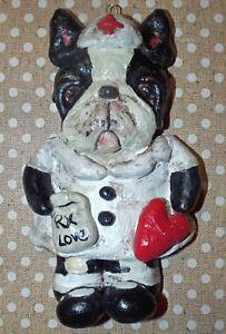 Folk Art Boston Terrier Dog Nurse Ornament New Vintage Whimsical Style
