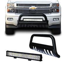 CHEVY Silverado 07-17 Black Bull Bar Bumper Grille Guard + 126W Cree LED Light
