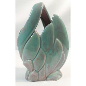 Vintage West Coast Pottery Artichoke Vase #209 Turquoise & Rose