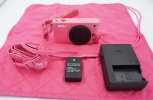Nikon 1 J1 10.1MP Digital Camera - Pink w/ Battery, Charger, Straps, Wrap #503