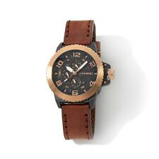 DRONE PRECISION TIMEPIECES CHRONOGRAPH STAINLESS STEEL BROWN LEATHER STRAP WATCH