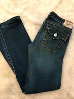 True Religion Joey Women's Size  28 Stitch Flap Pocket Twisted Seam Flare Jeans