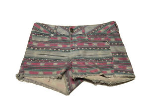 American Eagle Jeans Shorts Frayed Hem Cuffed Rose Size 4 Pink Striped Aztec