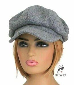 Women's Baker Boy Hat Ladies Newsboy Cap GREY Thick Felt Wool Blend